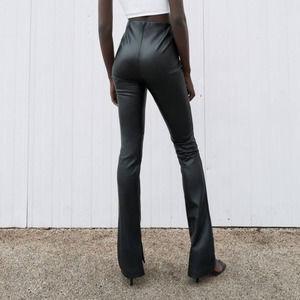 NWT Zara Black Leather Flare Leggings